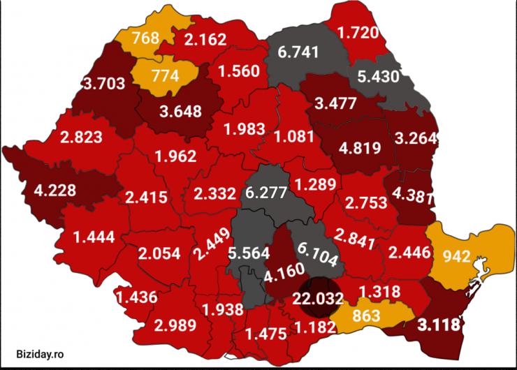 Distribuția cazurilor de coronavirus pe județe - 03 octombrie 2020. Sursă foto: biziday.ro
