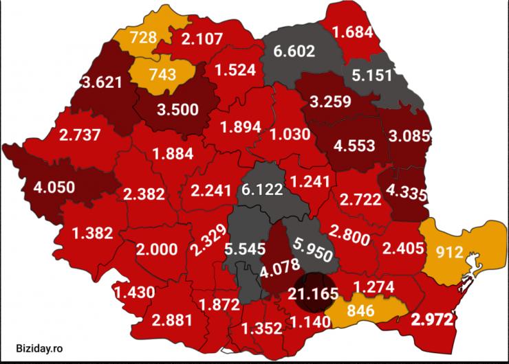 Distribuția cazurilor de coronavirus pe județe - 01 octombrie 2020. Sursă foto: biziday.ro