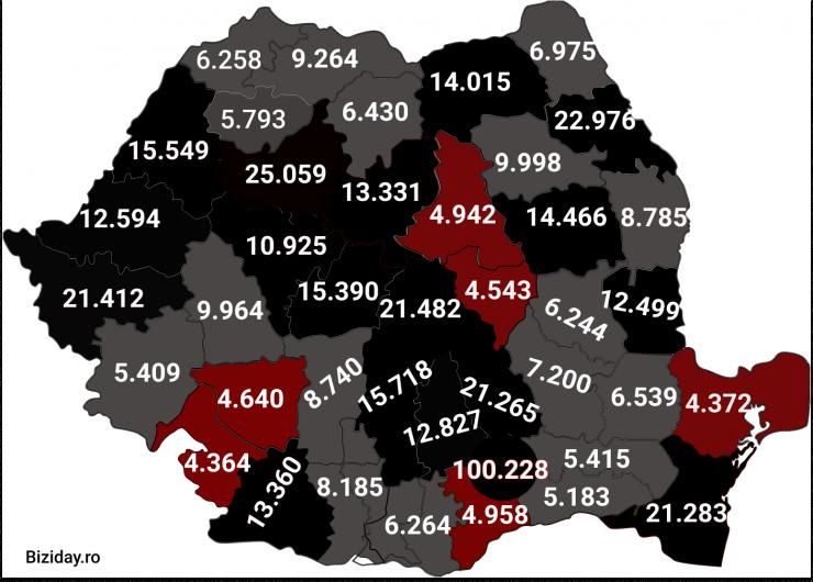 Distribuția cazurilor de coronavirus pe județe - 10 Decembrie 2020. Sursă foto: biziday.ro