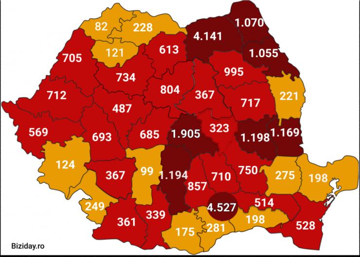 Situaţia infecțiilor cu noul coronavirus (COVID-19) în judeţele din România la data de 10 iulie 2020.Foto:biziday.ro