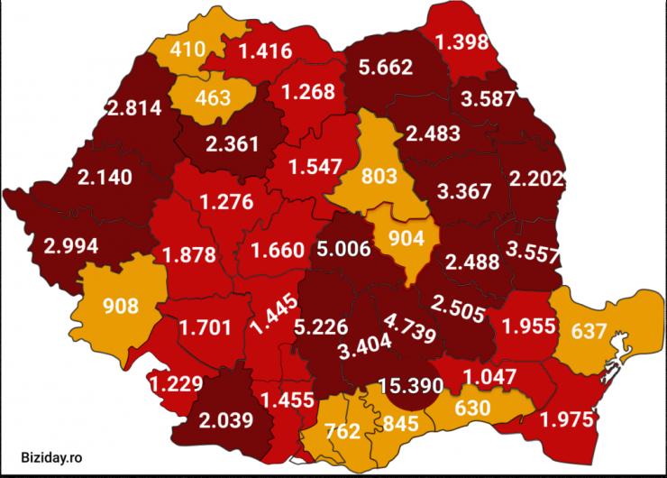 Distribuția cazurilor de coronavirus pe județe, la data de 10 septembrie 2020. Sursă foto: Biziday.ro