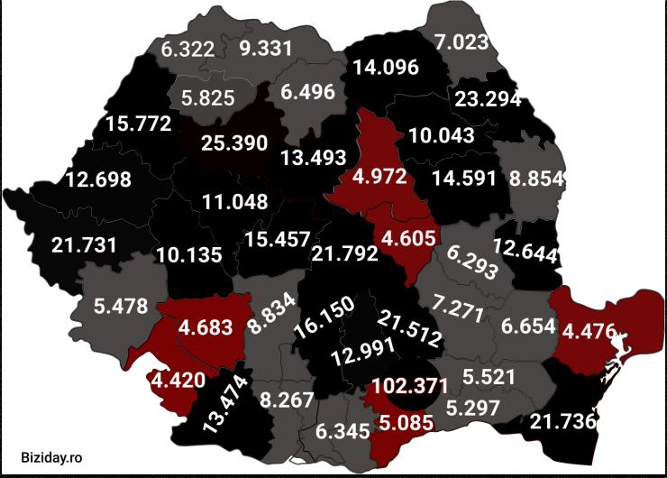 Distribuția cazurilor de coronavirus pe județe - 11 Decembrie 2020. Sursă foto: biziday.ro
