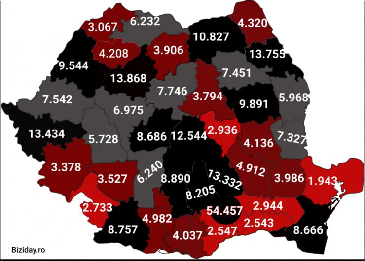 Distribuția cazurilor de coronavirus pe județe - 11 Noiembrie 2020. Sursă foto: biziday.ro