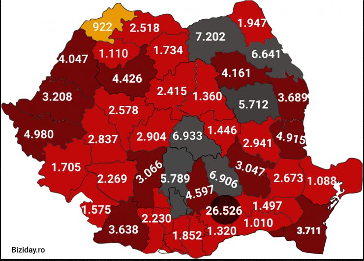 Distribuția cazurilor de coronavirus pe județe - 11 octombrie 2020. Sursă foto: biziday.ro