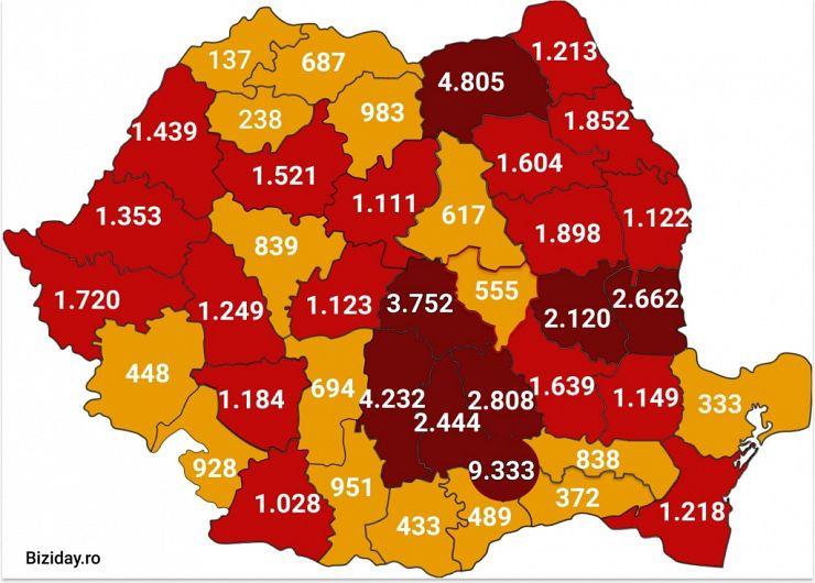 Distribuția cazurilor de coronavirus pe județe, la data de 12 august 2020. Sursă foto: Biziday.ro