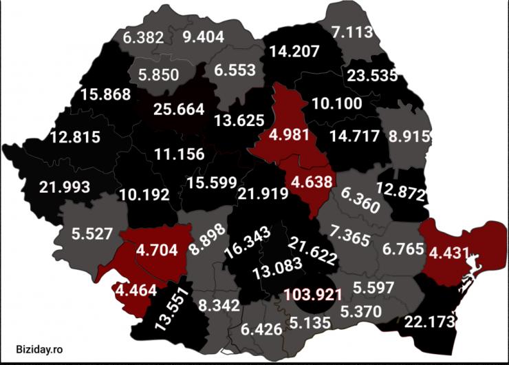 Distribuția cazurilor de coronavirus pe județe - 12 Decembrie 2020. Sursă foto: biziday.ro