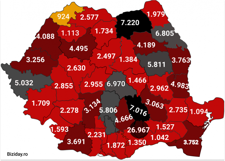 Distribuția cazurilor de coronavirus pe județe - 12 octombrie 2020. Sursă foto: biziday.ro