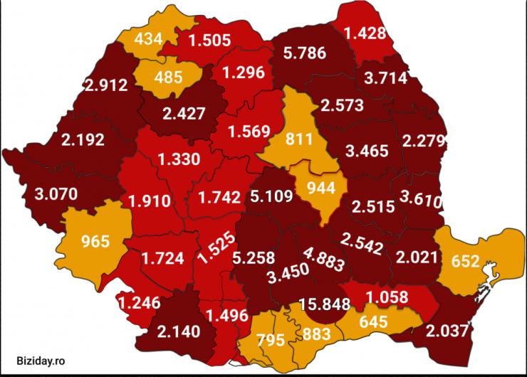 Distribuția cazurilor de coronavirus pe județe, la data de 12 septembrie 2020. Sursă foto: Biziday.ro