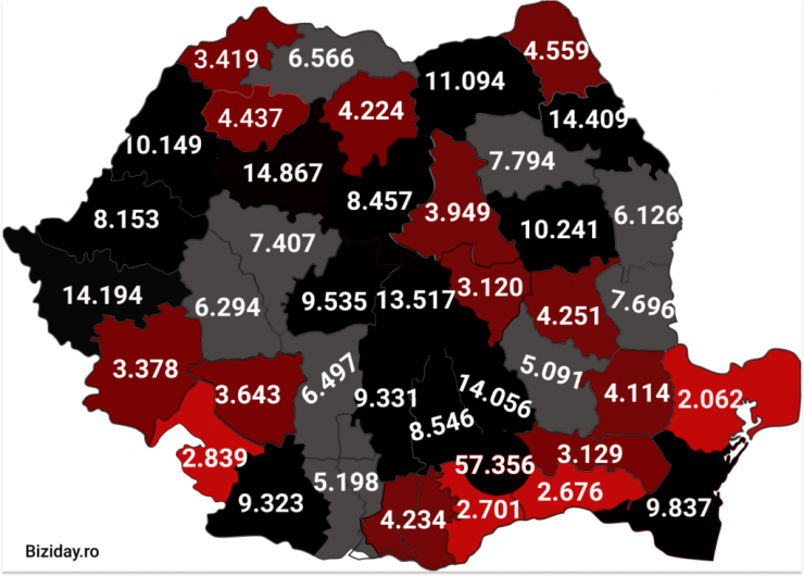 Distribuția cazurilor de coronavirus pe județe - 13 Noiembrie 2020. Sursă foto: biziday.ro