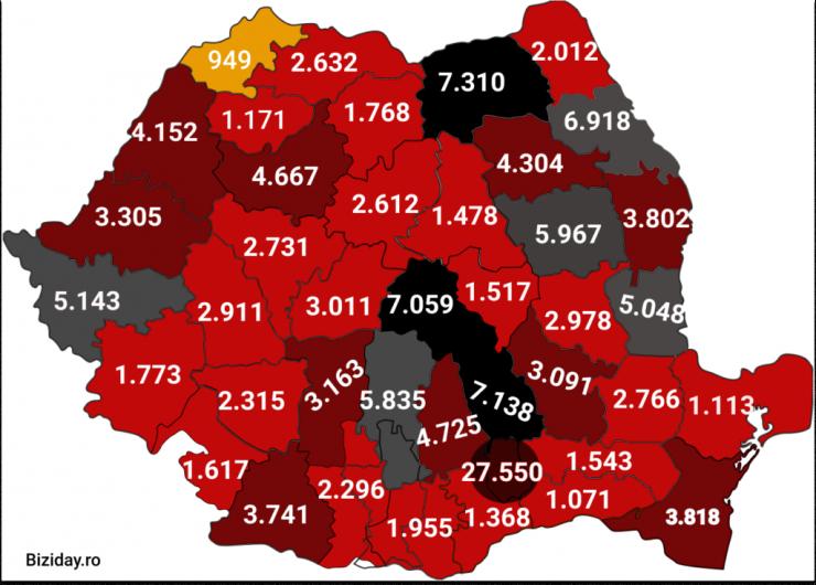 Distribuția cazurilor de coronavirus pe județe - 13 octombrie 2020. Sursă foto: biziday.ro