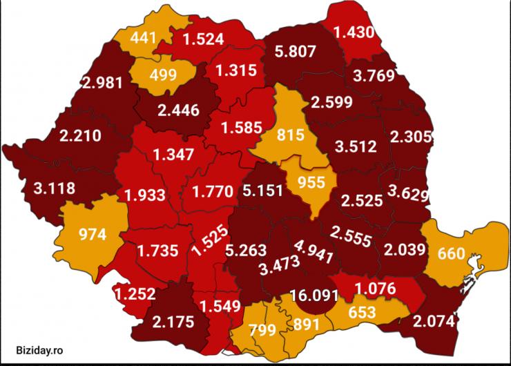 Distribuția cazurilor de coronavirus pe județe, la data de 13 septembrie 2020. Sursă foto: Biziday.ro