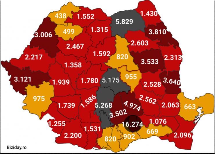 Distribuția cazurilor de coronavirus pe județe, la data de 14 septembrie 2020. Sursă foto: Biziday.ro