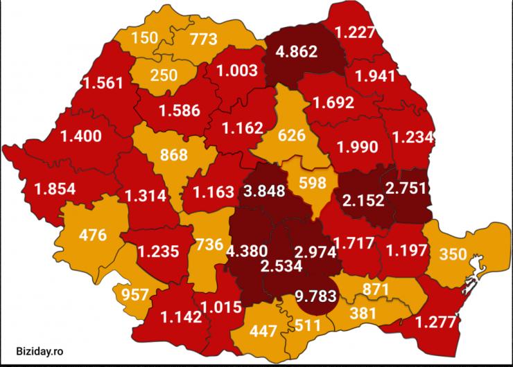 Distribuția cazurilor de coronavirus pe județe, la data de 14 august 2020. Sursă foto: Biziday.ro
