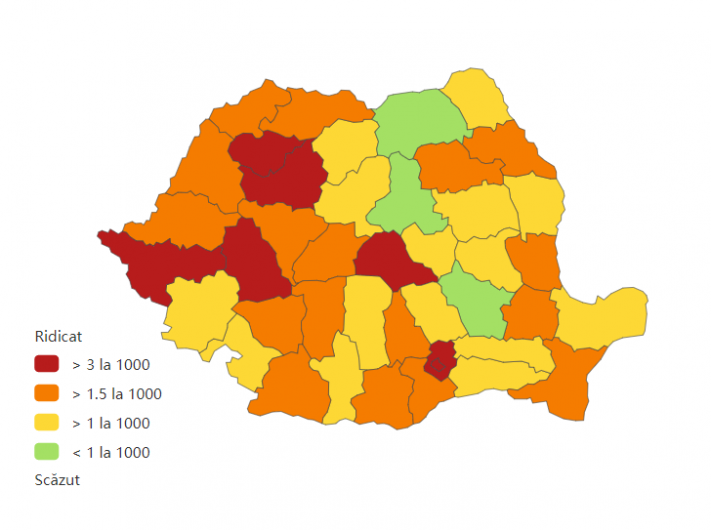 Incidența cumulată a cazurilor de coronavirus, pe județe, în ultimele 14 zile la mia de locuitori. Sursa foto: Biziday.ro