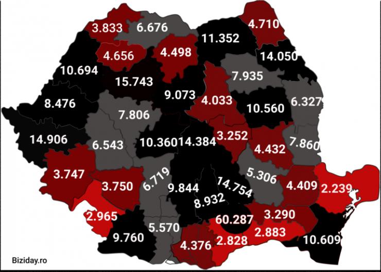 Distribuția cazurilor de coronavirus pe județe - 15 Noiembrie 2020. Sursă foto: biziday.ro