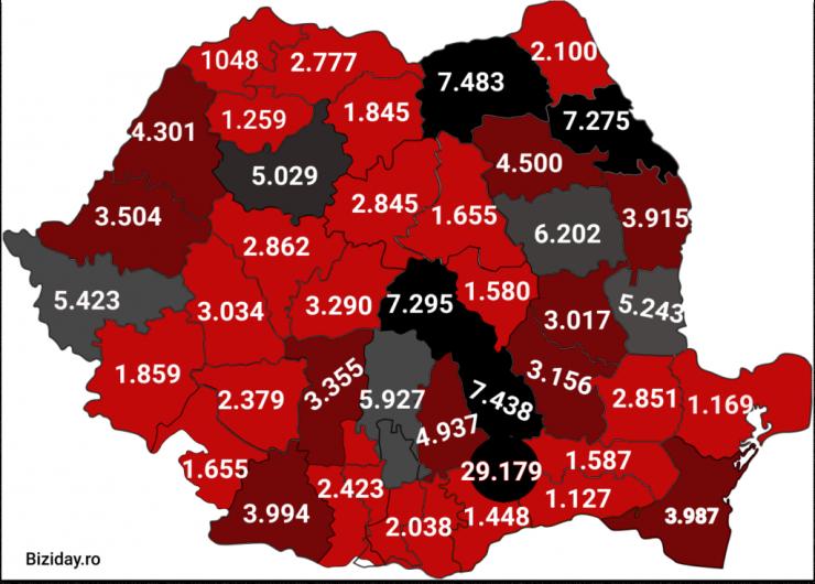 Distribuția cazurilor de coronavirus pe județe - 15 octombrie 2020. Sursă foto: biziday.ro