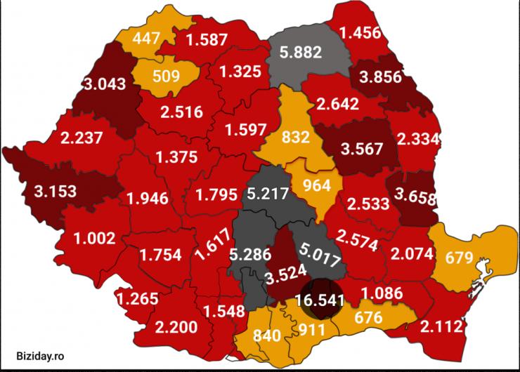 Distribuția cazurilor de coronavirus pe județe, la data de 15 septembrie 2020. Sursă foto: Biziday.ro