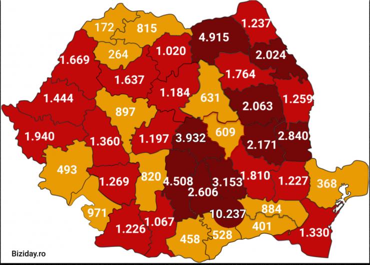 Distribuția cazurilor de coronavirus pe județe, la data de 16 august 2020. Sursă foto: Biziday.ro