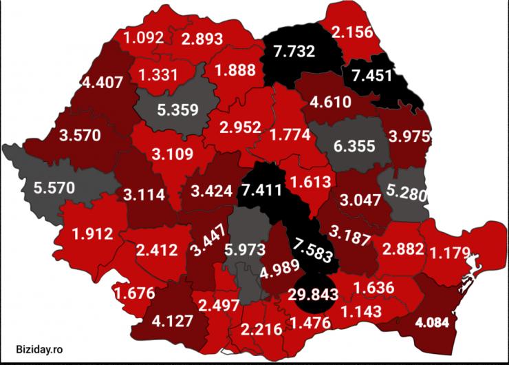 Distribuția cazurilor de coronavirus pe județe - 16 octombrie 2020. Sursă foto: biziday.ro