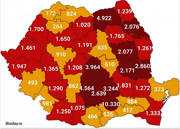 Distribuția cazurilor de coronavirus pe județe, la data de 17 august 2020. Sursă foto: Biziday.ro