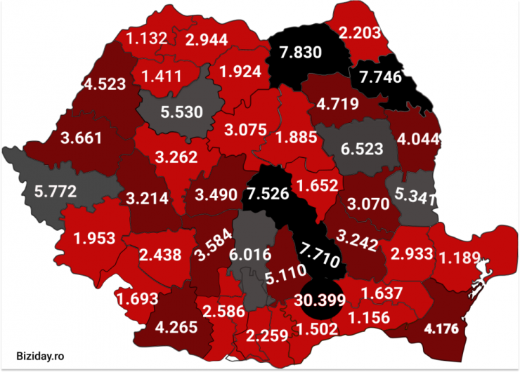 Distribuția cazurilor de coronavirus pe județe - 17 octombrie 2020. Sursă foto: biziday.ro
