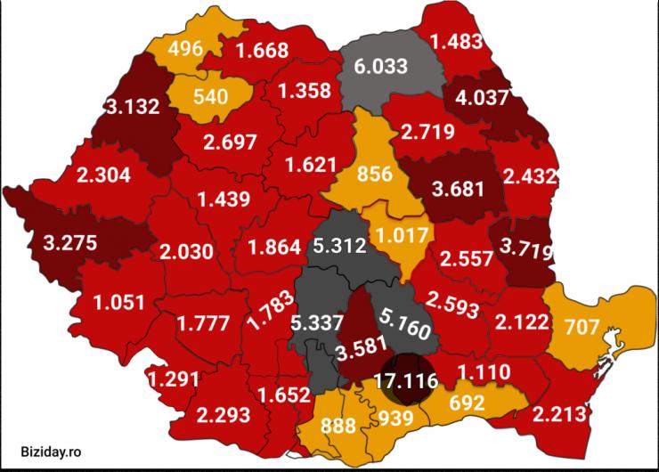 Distribuția cazurilor de coronavirus pe județe, la data de 17 septembrie 2020. Sursă foto: Biziday.ro