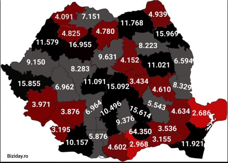 Distribuția cazurilor de coronavirus pe județe - 18 Noiembrie 2020. Sursă foto: biziday.ro