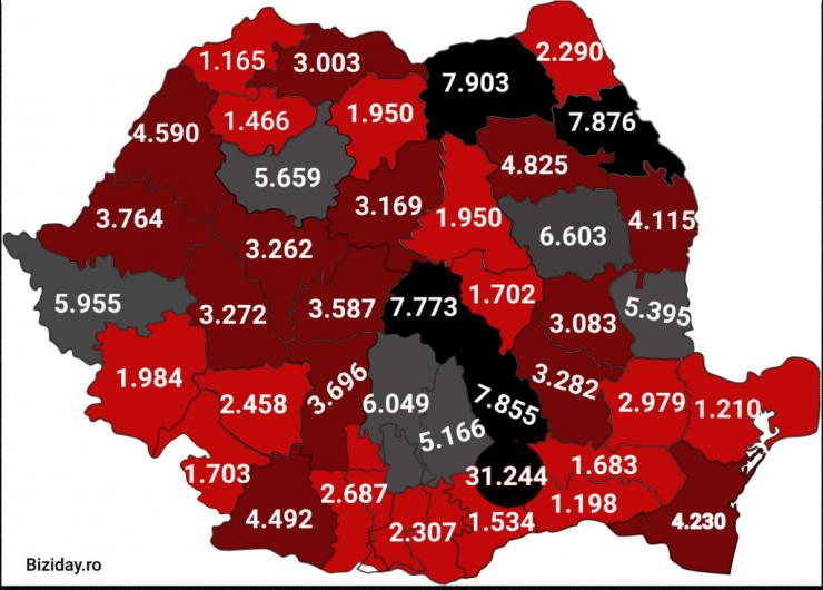 Distribuția cazurilor de coronavirus pe județe - 18 octombrie 2020. Sursă foto: biziday.ro