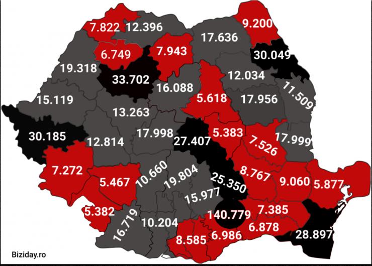 Distribuția cazurilor de coronavirus la nivel național, pe județe, la data de 19 ianuarie 2021. Sursă foto: Biziday.ro