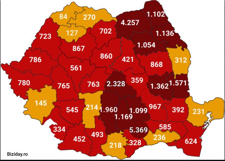 Distribuția cazurilor de coronavirus la nivel național, pe județe, la data de 19 iulie a.c.. Sursă foto: Biziday.ro