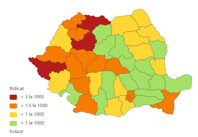 Incidenta cumulată a cazurilor de coronavirus, pe județe, în ultimele 14 zile la mia de locuitori. Sursa foto: Biziday.ro