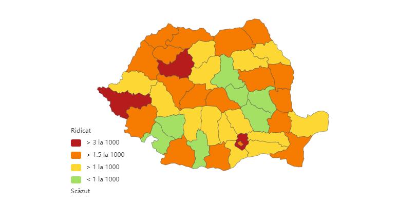 Incidența cazurilor de coronavirus la nivel național, pe județe, la data de 20 ianuarie 2021. Sursă foto: Biziday.ro
