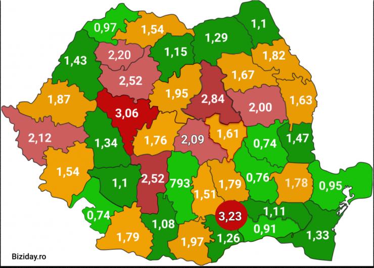 Pe harta de mai sus, cu nuanțe de verde, județele care au o incidență mai mică de 1,5/1000, cu galben cele care au depășit 1,5/1000, iar cu nuanțe de roșu, cele care se apropie sau au depășit pragul de 3 cazuri/1000 de locuitori.