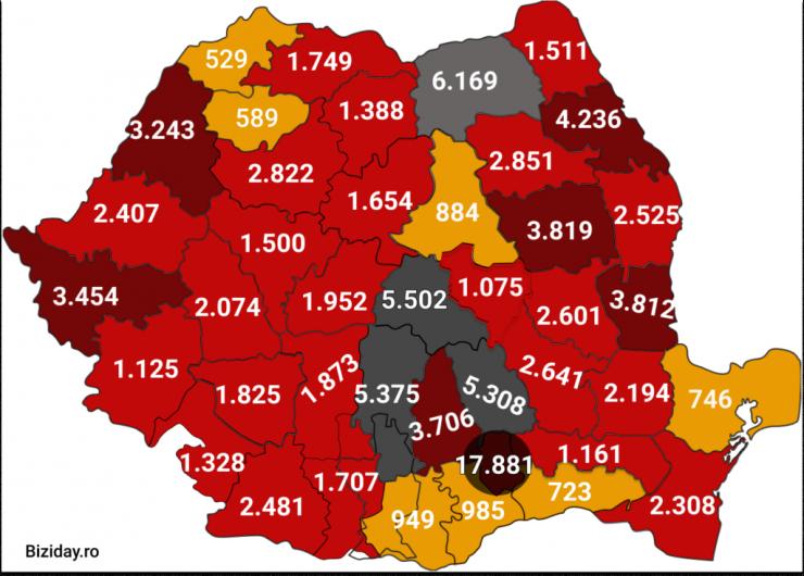 Distribuția cazurilor de coronavirus pe județe - 20 septembrie 2020. Sursă foto: biziday.ro