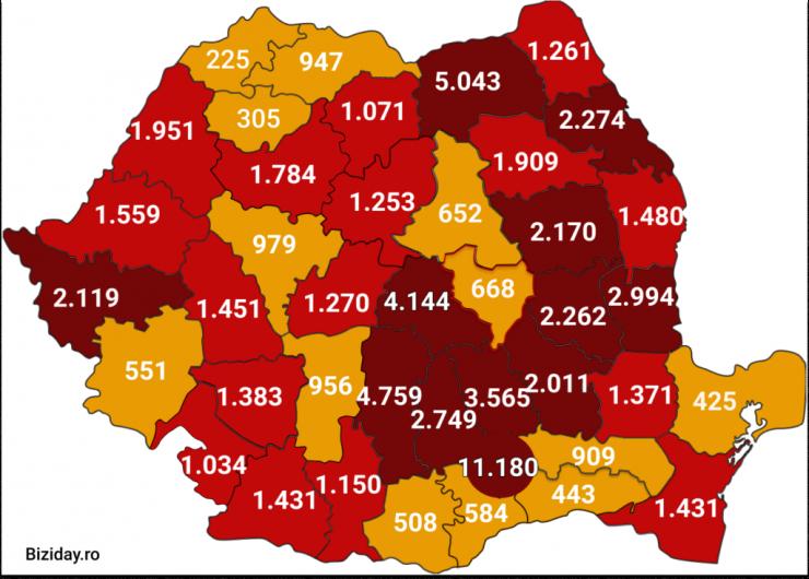 Distribuția cazurilor de coronavirus pe județe, la data de 21 august 2020. Sursă foto: Biziday.ro