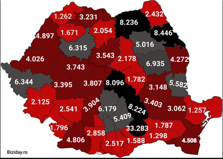 Distribuția cazurilor de coronavirus pe județe - 21 octombrie 2020. Sursă foto: biziday.ro