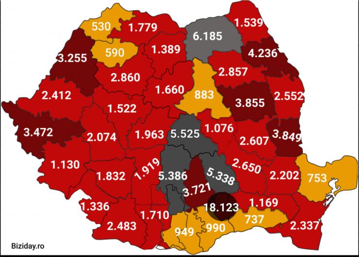 Distribuția cazurilor de coronavirus pe județe - 21 septembrie 2020. Sursă foto: biziday.ro