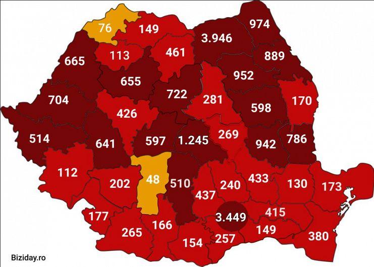 Distribuția cazurilor de coronavirus la nivel național, pe județe. Sursă foto: Biziday.ro