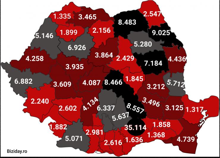Distribuția cazurilor de coronavirus pe județe - 23 octombrie 2020. Sursă foto: biziday.ro