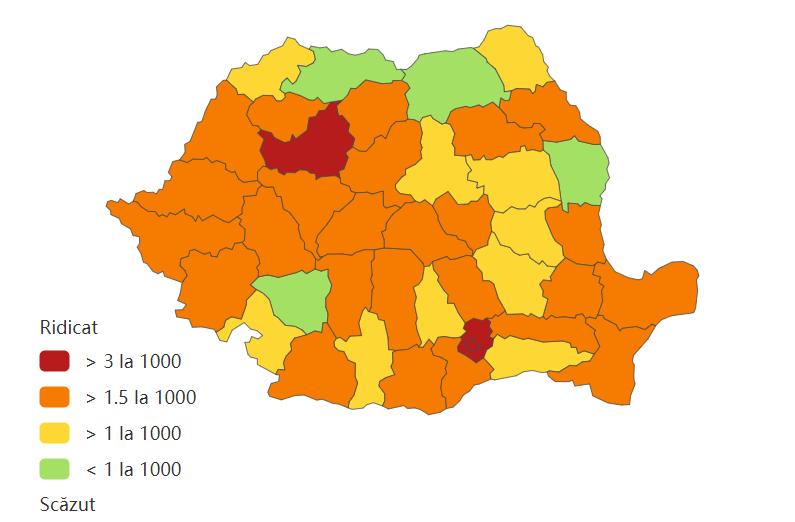 Incidența cumulată a cazurilor de coronavirus, pe județe, în ultimele 14 zile la mia de locuitori. Sursa foto: datelazi.ro