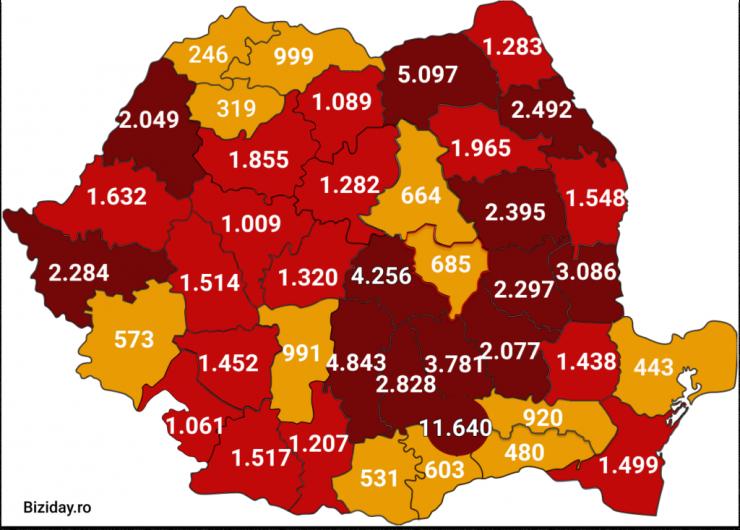 Distribuția cazurilor de coronavirus pe județe, la data de 24 august 2020. Sursă foto: Biziday.ro