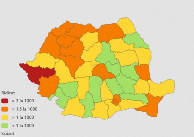 Incidența cazurilor de coronavirus la nivel național, pe județe, la data de 24 ianuarie 2021. Sursă foto: Biziday.ro