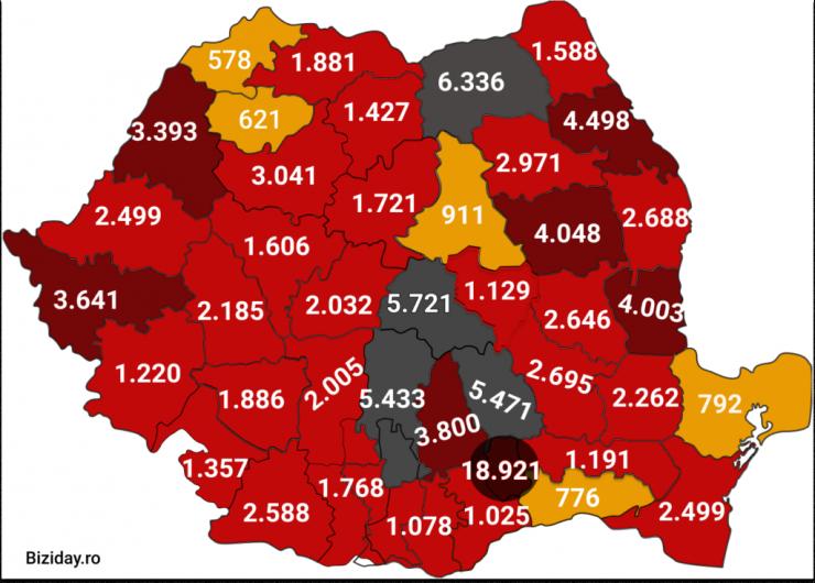 Distribuția cazurilor de coronavirus pe județe - 24 septembrie 2020. Sursă foto: biziday.ro