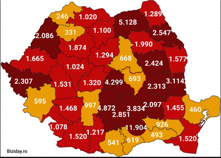 Distribuția cazurilor de coronavirus pe județe, la data de 25 august 2020. Sursă foto: Biziday.ro