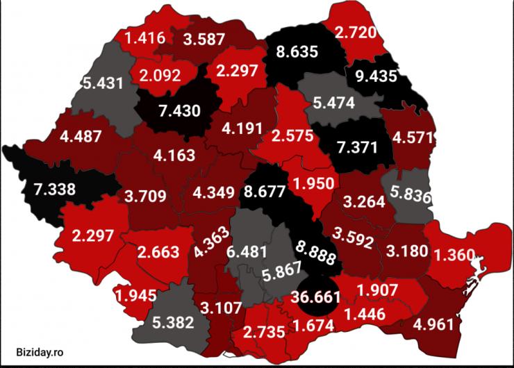 Distribuția cazurilor de coronavirus pe județe - 25 octombrie 2020. Sursă foto: biziday.ro