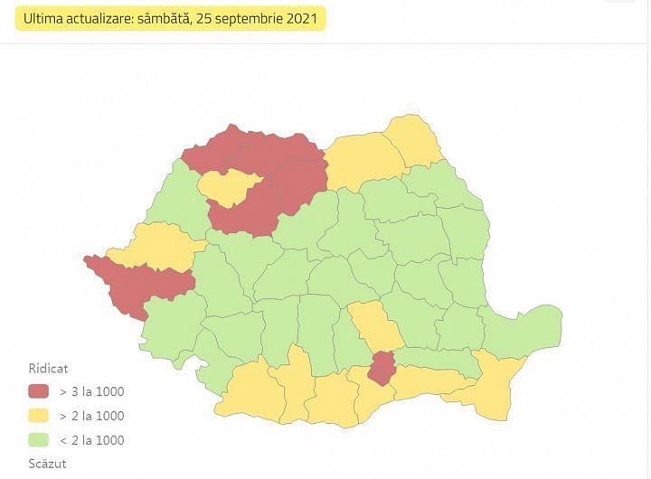 Foto: Incidența cumulată a cazurilor de coronavirus, pe județe, în ultimele 14 zile la mia de locuitori. Sursa foto: datelazi.ro