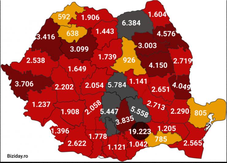 Distribuția cazurilor de coronavirus pe județe - 25 septembrie 2020. Sursă foto: biziday.ro