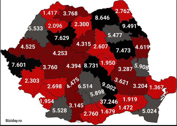 Distribuția cazurilor de coronavirus pe județe - 26 octombrie 2020. Sursă foto: biziday.ro