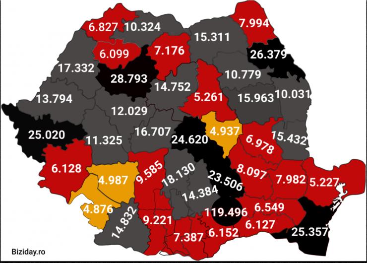 Distribuția cazurilor de coronavirus la nivel național, pe județe, la data de 27 decembrie 2020. Sursă foto: Biziday.ro