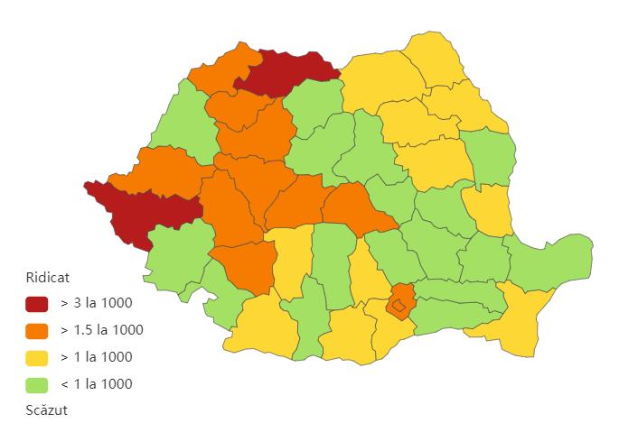 Distribuția cazurilor de coronavirus la nivel național, la data de 27 februarie 2021. Sursă foto: Biziday.ro